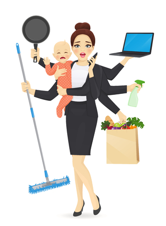 Ilustración de Mother with newborn baby in business clothes cleaning, shopping, talking by phone, cooking and working vector illustration - Imagen libre de derechos