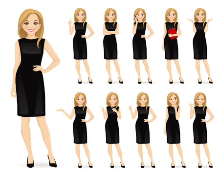 Illustration pour Young beautiful woman in black dress character in different poses set vector illustration - image libre de droit