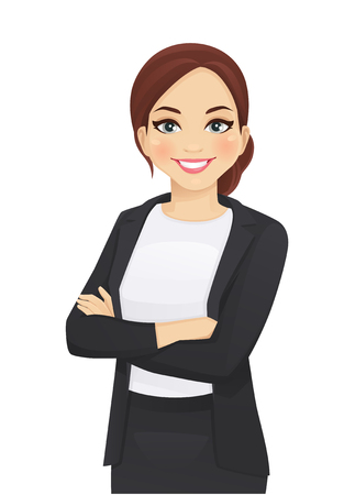 Illustrazione per Portrait of elegant business woman with arms crossed isolated vector illustration - Immagini Royalty Free