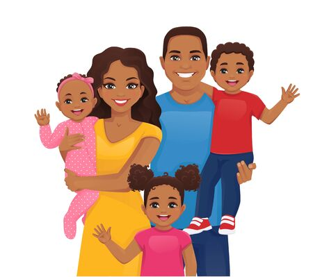 Illustration pour Parents with newborn baby, toddler boy and girl vector illustration isolated. Happy african family portrait. Mother, father, daughter, son. - image libre de droit