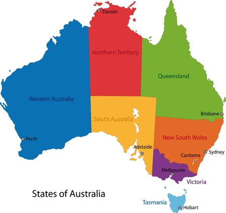 Illustration for Colorful Australia map with regions and main cities - Royalty Free Image
