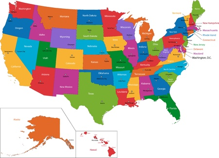 Illustration pour Colorful USA map with states and capital cities - image libre de droit