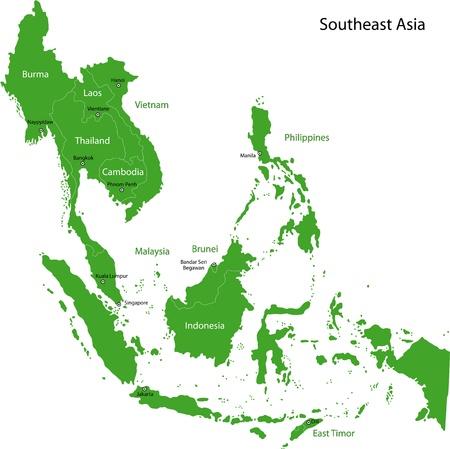 Ilustración de Map of Southeastern Asia - Imagen libre de derechos