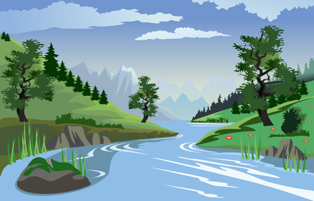 Illustration pour A beautiful view of a quiet river flowing through a valley - image libre de droit