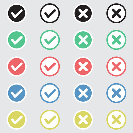 Illustrazione per Vector Set of Flat Design Check Marks Icons. Different Variations of Ticks and Crosses Represents Confirmation, Right and Wrong Choices, Task Completion, Voting. - Immagini Royalty Free