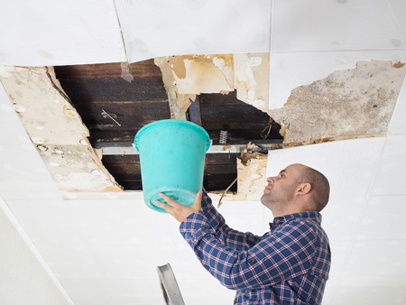 Photo pour Man Collecting Water In Bucket From Ceiling. Ceiling panels damaged - image libre de droit