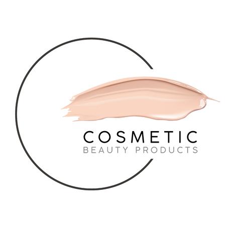Ilustración de Makeup design template with place for text. Cosmetic Logo concept of liquid foundation and lipstick smear strokes. - Imagen libre de derechos