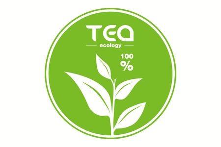 Ilustración de Green Tea leaf  isolated on white - Imagen libre de derechos