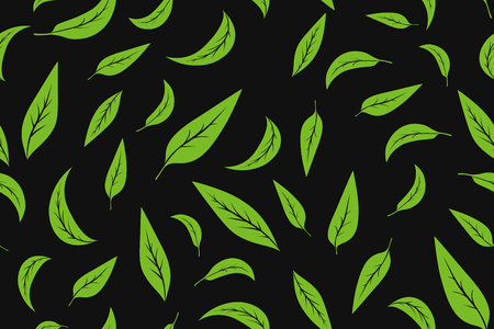 Ilustración de Seamless pattern with green tea leaves on white background. Hand painting on paper. May used in fabric, wrapping paper. Vector illustration - Imagen libre de derechos