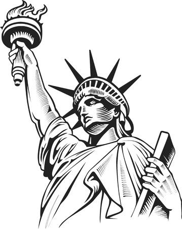 Illustration pour liberty statue, New York, USA - image libre de droit