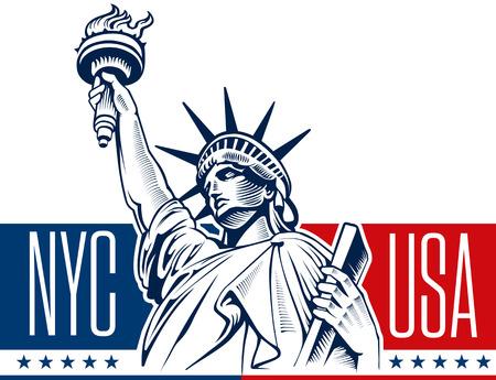Illustration pour Statue of Liberty, NYC, USA - image libre de droit