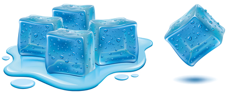 Illustration for Ice cubes with water drops isolated on white background. - Royalty Free Image