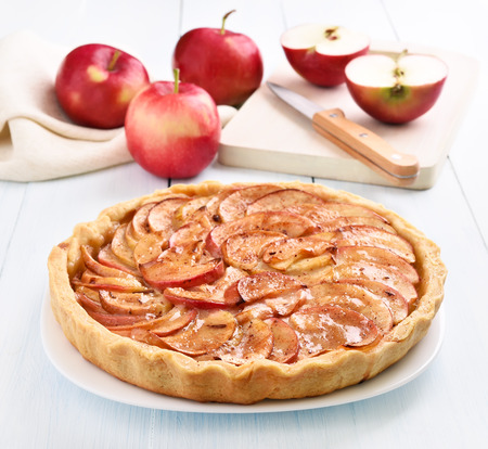 Photo for Apple pie on wooden table - Royalty Free Image