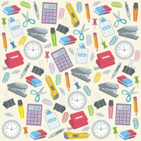 Ilustración de Office supplies seamless background - Imagen libre de derechos