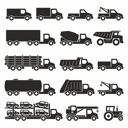 Illustration pour Trucks icons set - image libre de droit