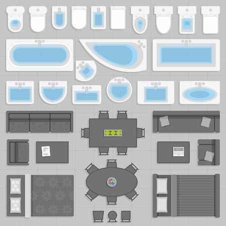 Ilustración de furniture top view - Imagen libre de derechos