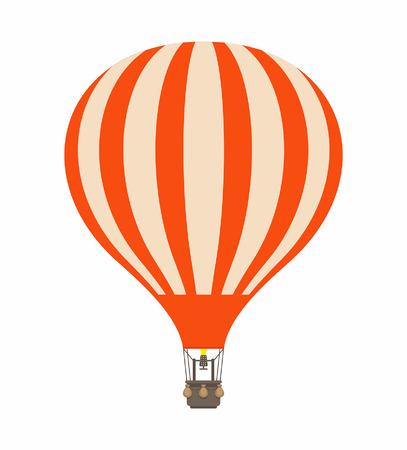 Ilustración de Air balloon in cartoon illustration stripe orange color, isolated on white - Imagen libre de derechos