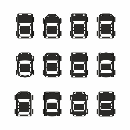 Illustration pour Set of black car icons in top view isolated on white background - image libre de droit