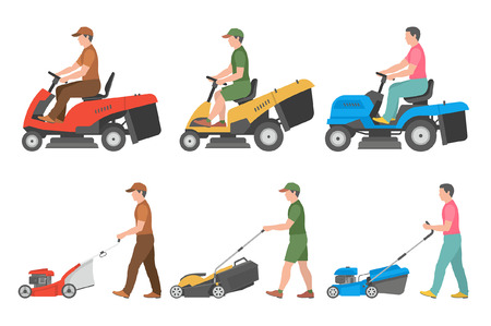 Illustration pour Set of Man with lawnmower. flat style. isolated on white background - image libre de droit