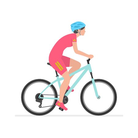 Illustrazione per Woman riding bike  isolated on white background - Immagini Royalty Free