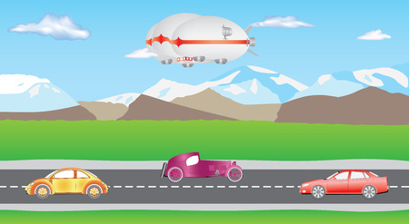 Illustration pour Hybrid airship. Airlander on sky with clouds. Hybrid Air Vehicles. Unmanned Vehicles for Heavy Transport. Long zeppelin - airlander, rigid airship. Cars on two-way road. Cartoon cars driving on a suburban road. - image libre de droit