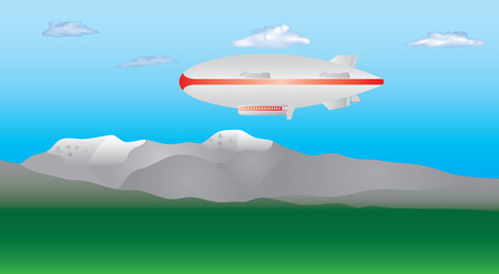 Illustration pour Zeppelin in the sky. Zeppelin airship on sky with clouds. Blimp moving high in the sky. Long zeppelin, rigid airship. - image libre de droit
