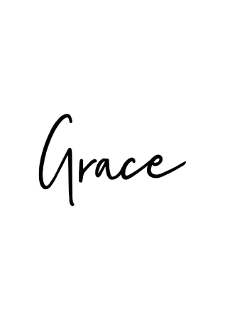 Illustrazione per Hand drawn lettering. Ink illustration. Modern brush calligraphy. Isolated on white background. Grace text. - Immagini Royalty Free
