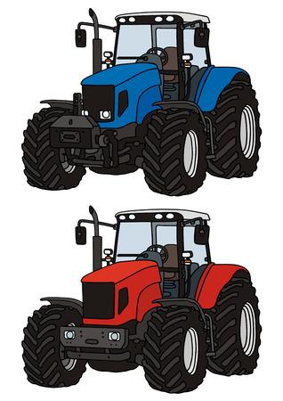 Illustration pour hand drawing of two tractors - image libre de droit