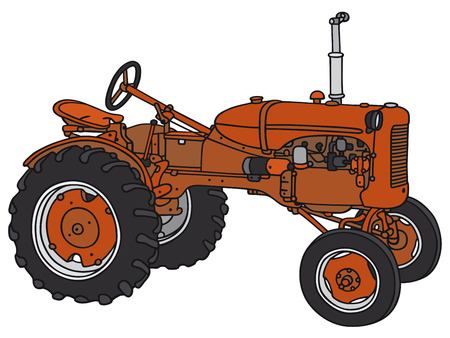 Illustration pour Hand drawing of a classic tractor - not a real model - image libre de droit