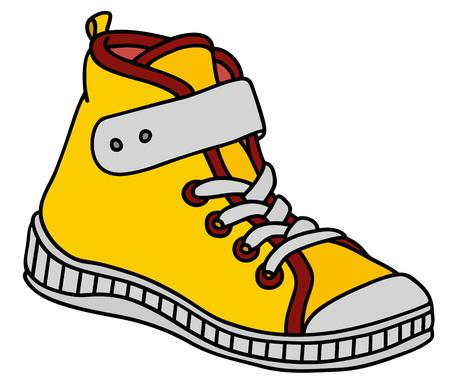 Ilustración de Yellow, red and white childrens sneaker - Imagen libre de derechos