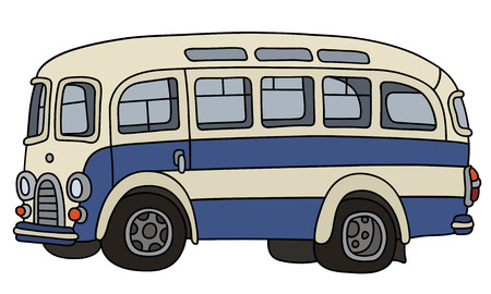 Illustration for Retro blue and white bus - Royalty Free Image