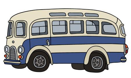 Illustration pour Retro blue and white bus - image libre de droit