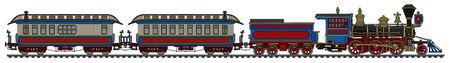 Illustration pour Vintage american steam passenger train - image libre de droit