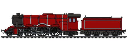 Illustration pour Classic red steam locomotive - image libre de droit
