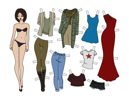 Illustration pour Brunette paper doll with cutout clothes, vector illustration. - image libre de droit