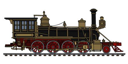 Illustration pour Vintage black american wild west steam locomotive Vector illustration. - image libre de droit