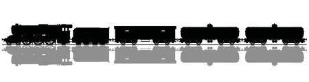 Illustration pour Hand drawing of a black silhouette of the vintage freight steam train - image libre de droit