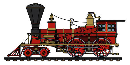 Illustration pour The hand drawing of a vintage red american wild west steam locomotive - image libre de droit