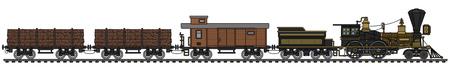 Illustration pour The vintage american steam train - image libre de droit