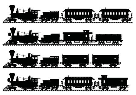 Illustration pour Black silhouettes of vintage american steam trains - image libre de droit