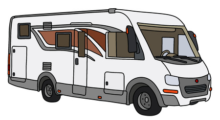 Illustration pour The vectorized hand drawing of a modern large motor home - image libre de droit