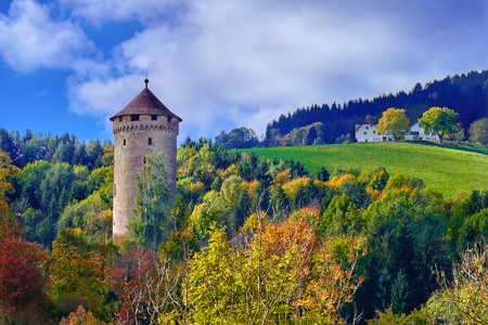 Foto de Old medieval castle tower on a hill in the forest in Europe on a bright sunny day. - Imagen libre de derechos