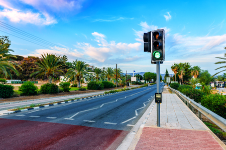 Photo for green light on traffic light and road - Royalty Free Image