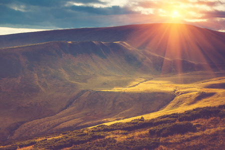 Photo for Scenic view of mountains, autumn landscape with colorful hills at sunset. - Royalty Free Image