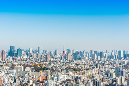 Photo pour Asia Business concept for real estate and corporate construction - panoramic modern city skyline bird eye aerial view of tokyo tower under blue sky in Tokyo, Japan - image libre de droit