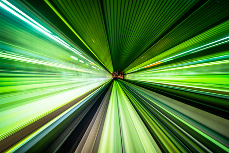 Foto per Business concept - high speed abstract MRT track of motion light for background in tokyo, japan - Immagine Royalty Free