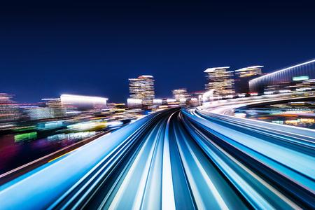 Foto de Business concept - high speed abstract MRT track of motion light for background in tokyo, japan - Imagen libre de derechos