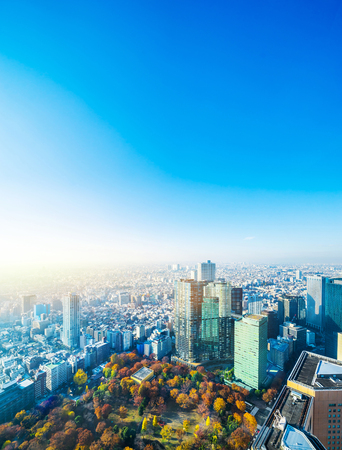 Photo for Asia Business concept for real estate and corporate construction - panoramic modern city skyline aerial view of Shinjuku area under blue sky in Tokyo, Japan - Royalty Free Image