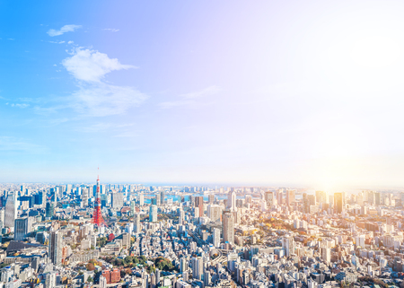 Foto de Asia Business concept for real estate and corporate construction - panoramic modern city skyline bird eye aerial view of tokyo tower and odaiba under golden sun in Roppongi Hill, Tokyo, Japan - Imagen libre de derechos