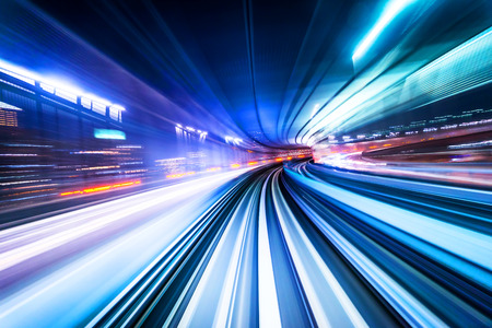 Foto de Business concept - high speed abstract MRT track of motion light for background in tokyo, japan - Imagen libre de derechos
